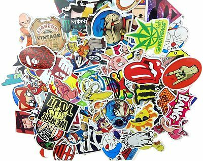 (Pack of 200) Random Music Film Vinyl Skateboard Guitar Travel Case Sticker Lot