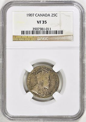 Canada 1907 Silver 25 Cents NGC VF-35
