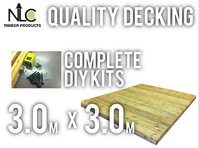 Quality Ground Decking Kit 3.0m x 3.0m FREE DELIVERY TO MANY AREAS see map