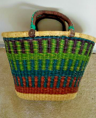 Bolga Large Market Oval Basket Tapered W/ Two Leather Handles Handmade NEW
