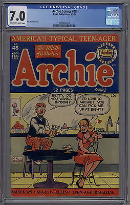 """Archie Comics # 48 CGC 7.0 FN/VF OW/W 1951 Classic """"Do You Wanna Spoon?"""" Cover"""