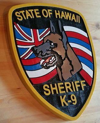 Police Hawaii Sheriff k-9  3D routed wood award patch plaque sign Custom