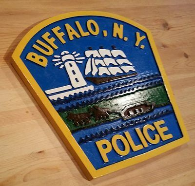 Police  Buffalo New York 3D routed carved custom wood patch sign Custom