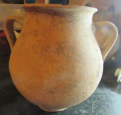 Rare ancient Greek terracotta water jug with handles