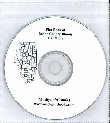 Boone Co Illinois IL 1930's  Atlas  plat book genealogy  history land owners CD