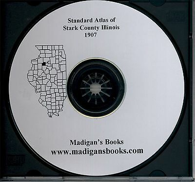 Stark Co Illinois IL 1907 Atlas  plat book genealogy  history land owners CD