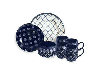 Dinnerware Set 16 Piece Baum Moroccan in Navy Stoneware Dinner Service Set