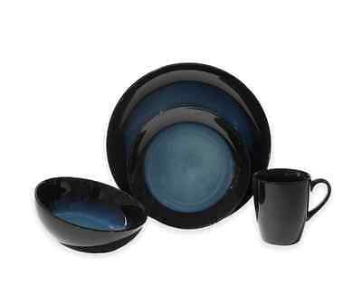 Dinnerware Set 16 Piece Baum Blue and Black Glaze Stoneware Dinner Service Set