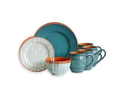 Dinnerware Set 16 Piece Baum Tangiers in Turquoise Stoneware Dinner Service Set