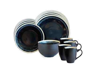 Dinnerware Set 16 Piece Baum Reactive Lines Blue Stoneware Dinner Service Set