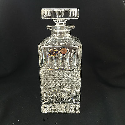 NEW Bohemia Square Lead Crystal Decanter w/Stopper BRILLIANT CUTS, STUNNING!!!!