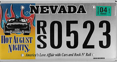 Nevada  Hot August Nights License Plate # Rs 0523 Cars Rock And Roll