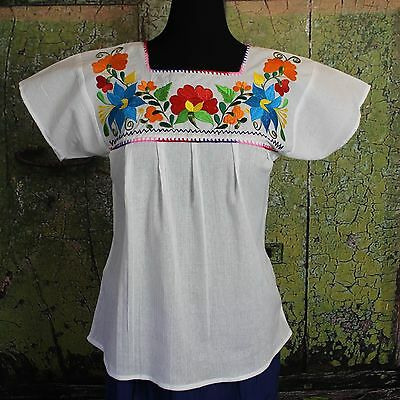 Multi Color on White Floral Blouse Oaxaca Mexico Hippie Cowgirl Peasant Santa Fe