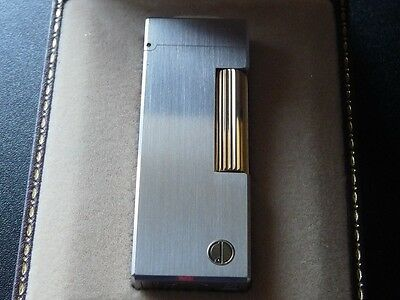 Dunhill Rollagas Lighter - Brushed Steel with Gold Accents - Boxed - Excellent