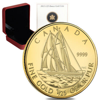 2012 1/25 oz Gold Canadian Bluenose 50 Cents Proof Coin .9999 Fine (w/Box & COA)