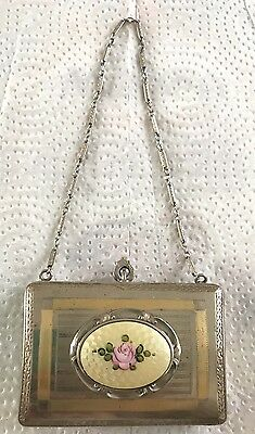 Antique Art Deco FMCO Finberg Mfg Co Guilloche Enamel Dance Purse Compact~Rose