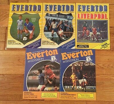 Collection of 5 Everton football programmes