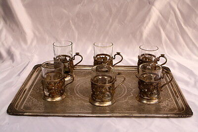 MAGNIFICENT PERSIAN 84 CONTINENTAL SILVER HAND MADE TRAY WITH 6 CUPS  56 onces