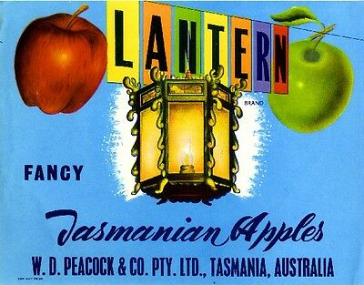 Tasmania Australia Peacock Lantern Apple Fruit Crate Label Vintage Art Print