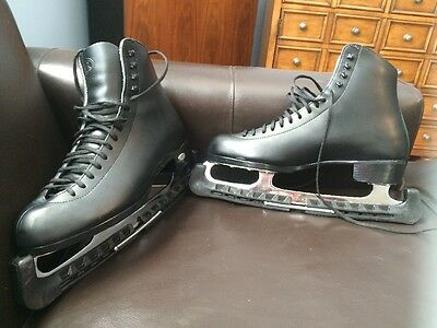Riedell Black Leather Men's Ice Skates, Size 10.5