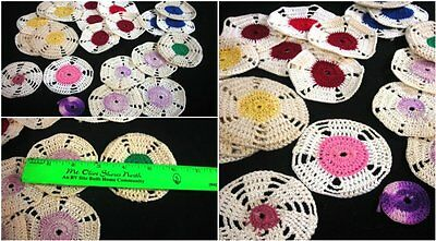 """lot of 23small hand crocheted vintage Doilies sizes 3""""round"""