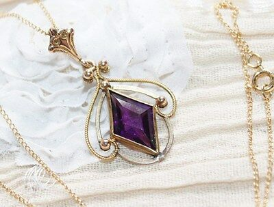 VICTORIAN Art Deco 12k GOLD Filled AMETHYST Paste LAVALIER Pendant NECKLACE