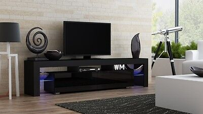 """Milano 200 Black-Modern TV Cabinets for up to 90""""Screens/TV Entertainment Center"""