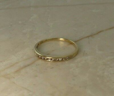 DIAMOND RING 10K Yellow Gold .15ctw Round Cut Channel Anniversary Band Size 7.50