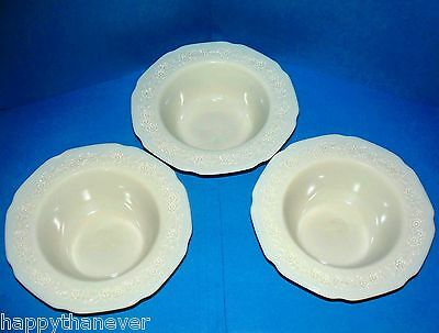 "3 Indiana Custard/French Ivory Depression Glass 5-1/2"" Berry/Desert Bowls MINT"