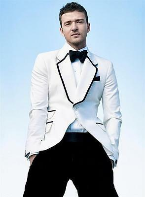 Custom Tuxedos Notch Lapel Best Man Suit White Groomsman Men's Wedding/Prom Suit