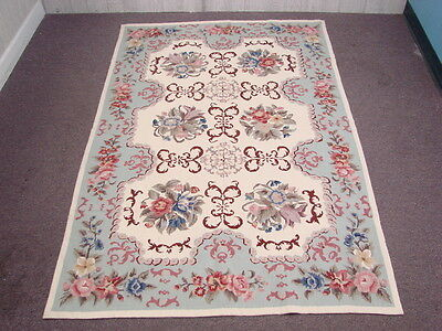 Vtg Hand-Sewn Needlepoint Rug Wall Tapestry Floral Home Made Intricate Designed