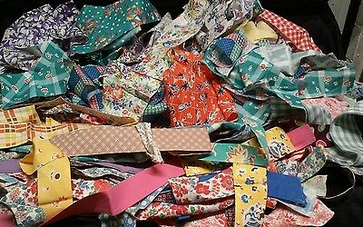 Vintage Fabric Scrap Bag: 2.25 lb of Cotton Prints & some Feedsack Scraps