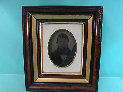 Antique Early Tin Type Photograph Picture Wood Framed Outlaw Vintage Photo