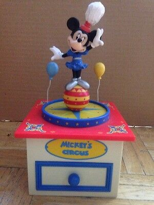 Schmid Minnie Mouse Jewelry Music Box Disney Mickey's Circus - Works