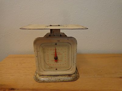 1940s era vintage kitchen scale... creamy white w/ red hand & numbers...antique