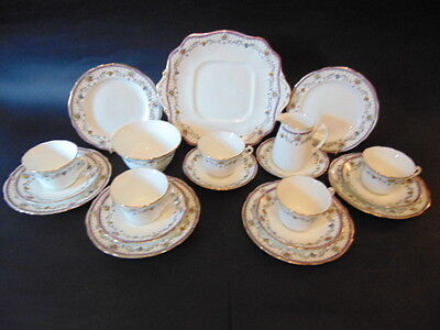 Adderley Florida Hand Painted Tea Set (20 Pieces) In Good Condition