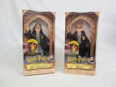 Rare 2001 Mattel Canadian Ron & Hermione Sorcerers Stone Figures Boxed Nice