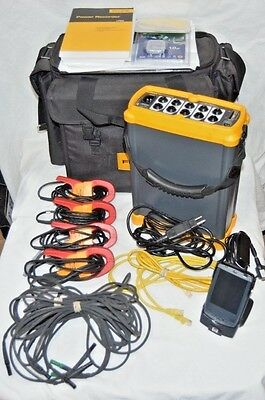 Fluke 1750 Three Phase Power Quality Recorder w/ Leads, 3140R Amp Clamps, HP PDA