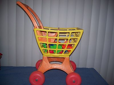 "Vintage 1972 Tuff Stuff Shopper Shopping Cart Toy Yellow Orange  22"" & 12 food"