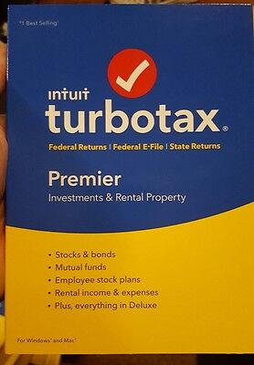 Turbotax Premier 2016 Federal & State E File for PC+Mac Turbo Tax  New Sealed