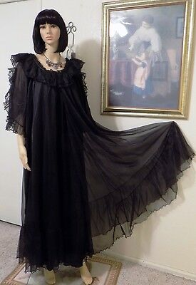 LANE BRYANT vintage BLACK CHIFFON DOUBLE LAYER PEIGNOIR SET Plus Size XX