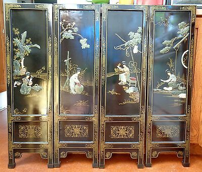 VINTAGE CHINESE Wood BLACK LACQUER SCREEN HARDSTONE 4 SCENES of WOMEN
