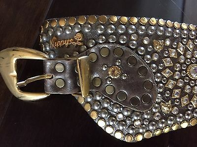 Authentic perfrect Kippy womens dark gold leather crystal studded belt size s-m