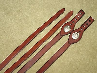 LIGHT USE~High Quality HARNESS LEATHER Western Show Reins~SILVER CONCHOS & STUDS