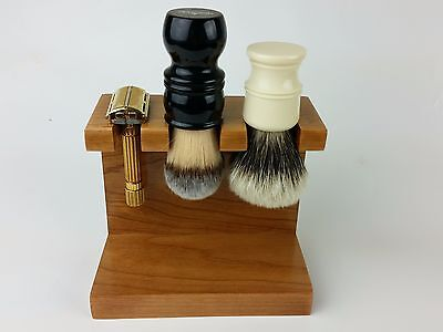 Cherry Wood Stand 1 Safety Razor 2 Shaving Brush Made in USA FREE ARKO SOAP!!!!