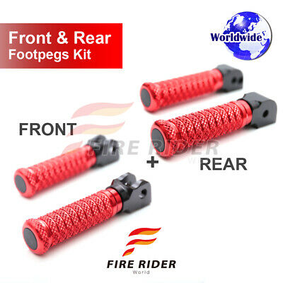 For Suzuki TL1000R 98-03 Front + Rear Pair Red CNC Pole Footpegs