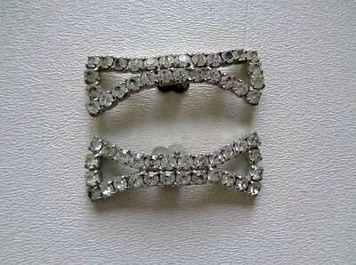 "Vintage Rhinestone & Silver Tone Clips Unmarked 5/8"" x 1 3/4"""