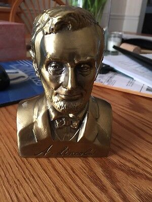 """Vintage President Abraham Lincoln Heavy Cast Brass Bust Statue 5 1/4"""" Tall"""