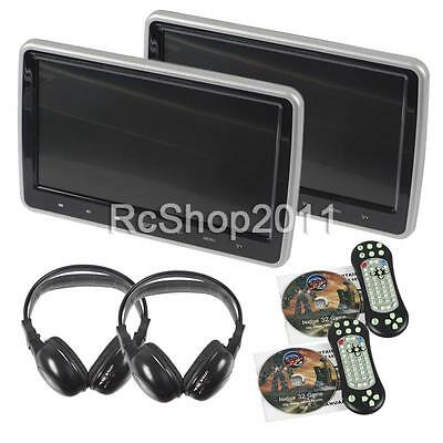 "2PCS HDMI Slim 10"" Car Pillow Headrest Active Monitor DVD Player Game IR Headset"