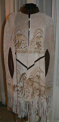 Mexican Leather Poncho Cape Bull Fighting Burned Long Fringe Vtg Souvenir L XL